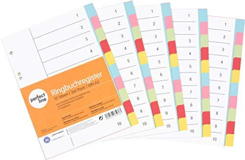 perfect line 5er Pack 10-teiliges DIN-A5 Register farbig (5x10), 16,3 x 21,5 cm, mit Deckblatt, Farb-Trenner aus Karton in 5 Farben, 160g, perfekte Trenn-Blätter für die Ordner-Organisation im Büro
