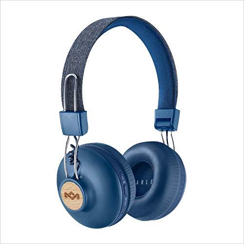 House of Marley Positive Vibration 2 BT Kabellose Bluetooth On-Ear Kopfhörer, Geräuschisolierung, nachhaltige Materialien, recycelbare Verpackung, unterstützt One Tree Global Wiederaufforstung - Denim