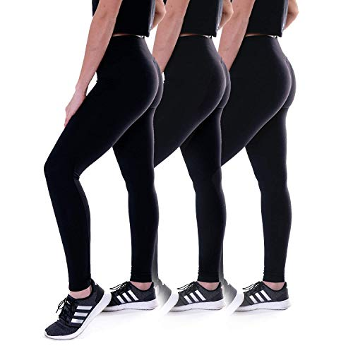 MISS POPULAR 3-Pack Womens Performance Leggings Black Color   Exercise, Cycling, Running, Training, Workout
