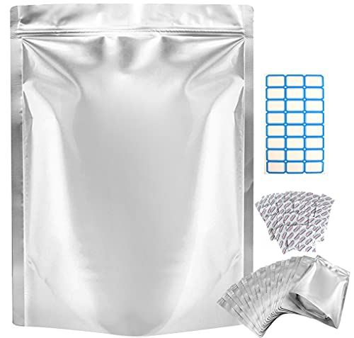25 Pack Resealable Mylar Bags for Food Storage – 1 Gallon (10 x 14 Inch with 9.4 Mil Ultra...