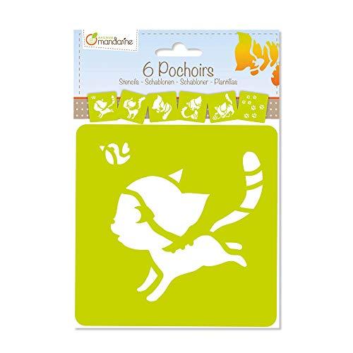 Avenue Mandarine 42641O Set (mit 6 Schablonen, 15 x 15 cm, geeignet für Kinder ab 3 Jahre, für Filz- und Farbstifte, Farben oder Farbbomben, Katze) 6er Pack