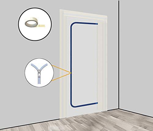 Staubschutztür (Vlies) inkl. doppelseitigem Klebeband und 2-seitigem Reißverschluss aus staubdichtem Vlies