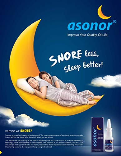 Asonor Snoring Nasal Spray (30ml) – Effective Snore Stopper Drops For Better Sleep – Snore Relief Remedy – Opens Up The Throat Air Passage – Enables Better Breathing – Natural Anti-Snoring Solution