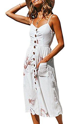 Angashion Damen V Ausschnitt Spaghetti Buegel Blumen Sommerkleid Elegant Vintage Cocktailkleid Kleider, Größe: S, Farbe: 0860 Weiß