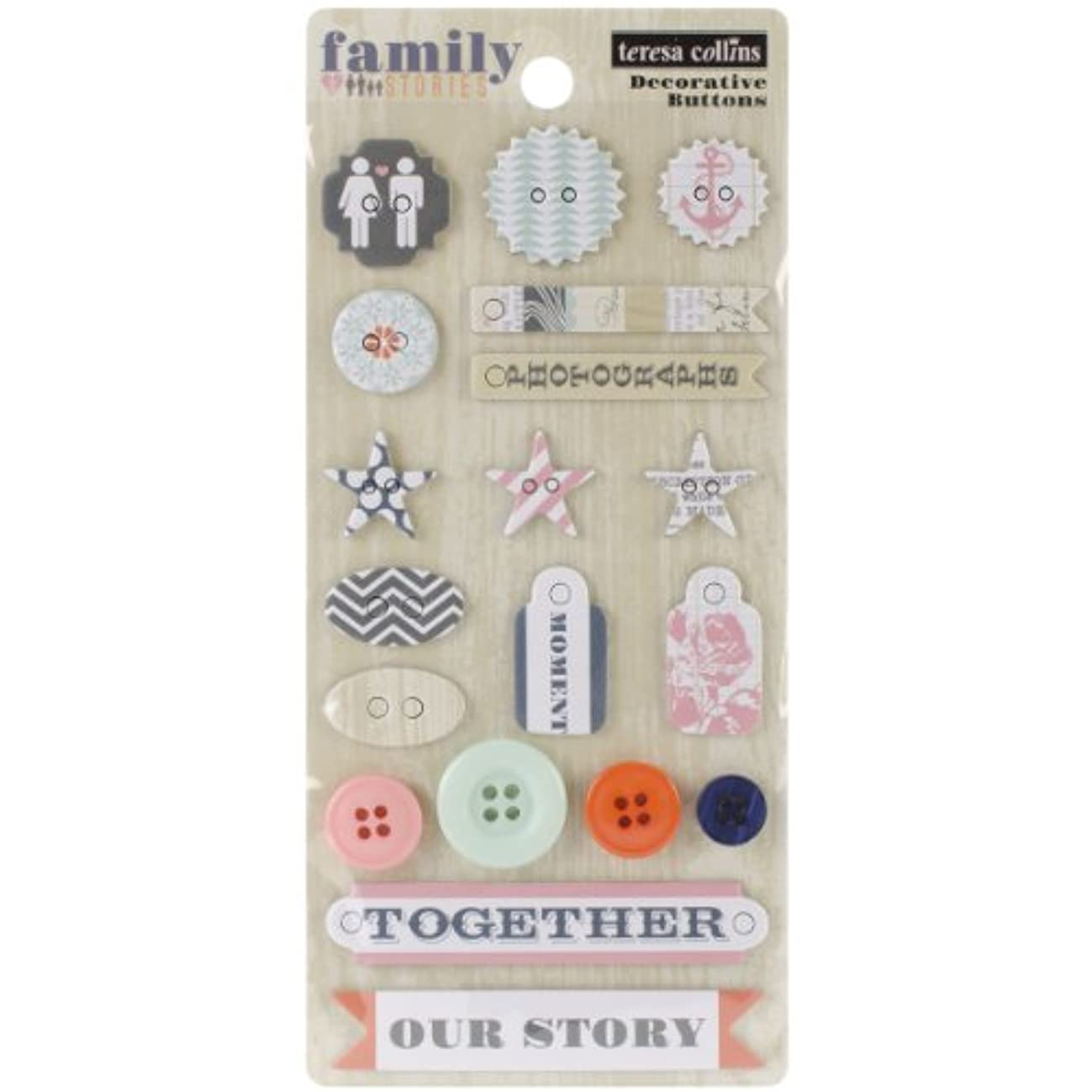 Teresa Collins Family Stories Decorative Buttons & Chipboard