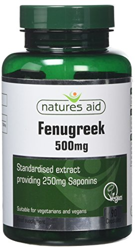 Natures Aid Fenugreek 500 mg, 250 mg Saponins Daily, Vegan, 90 Capsules