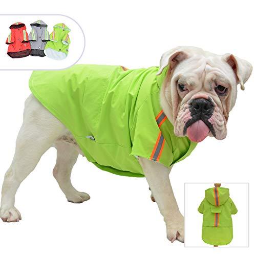 lovelonglong Modischer Regenmantel für Hunde, mit Kapuze, leicht, mit Reißverschluss, Regenponcho mit reflektierenden Streifen für Mops, Französische Bulldogge, Grün B-S