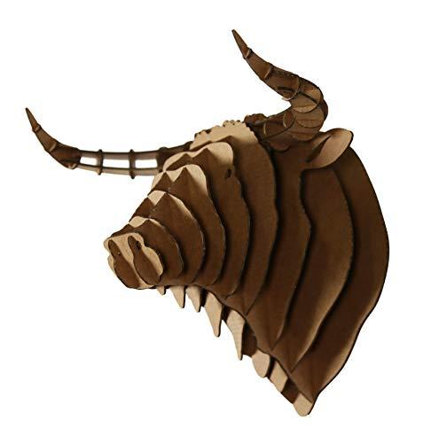 Trophée 3D a monter en carton, Puzzle a monter en carton, tête de taureau KRAFT - taille: XL- L 37x H 33 x P 27 cm