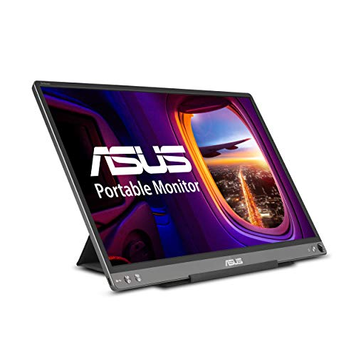 """ASUS ZenScreen MB16ACE 15.6"""" Portable USB Type-C Monitor Full HD (1920 x 1080) IPS Eye Care with Lite Smart Case External screen for laptop,Dark Gray"""