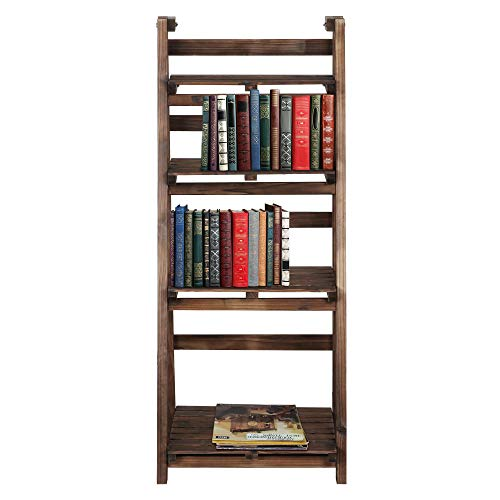 YAHEETECH 4-Tier Wooden Foldable Ladder Shelf Magazine Holders Literature Racks Plant Stands Folding Flower Display Pot Decorative Storage Free Standing Indoors/Outdoors Rustic No Assembly Required