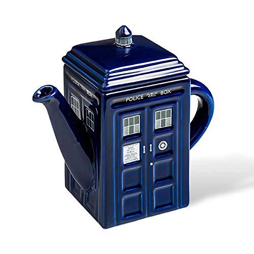 Doctor Who Tardis Teekanne das Geschenk für Serien Fans tiefblau glasiert Keramik 750ml