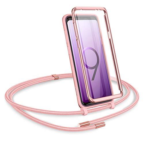 SURITCH Kompatibel mit Samsung Galaxy S9 Plus Handykette Handyhülle mit Kordel zum Umhängen Necklace Hülle mit Band Schutzhülle mit integriertem Displayschutz für Samsung Galaxy S9 Plus (Rosé Gold)