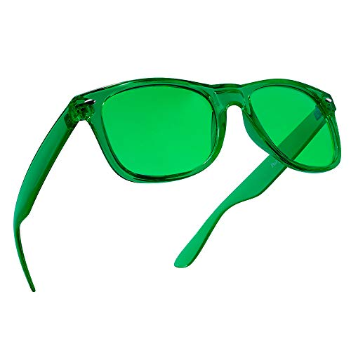 Green Color Therapy Mood Glasses by Purple Canyon | Migraine Glasses Light Therapy Chakra Healing Glasses Chromotherapy Green Colored Lenses