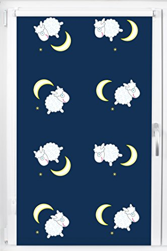 pixxfish Verdunklungsrollo Mini - Maßanfertigung - 17 mm Welle - Motiv: Schafe - Farbe: blau - Breite bis 50 cm, Höhe bis 150 cm - Klemmfix-Rollo - Kinderrollo - Fotodruck - OHNE Bohren