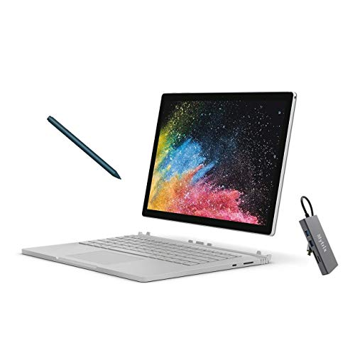 Microsoft Surface Book 2 13.5' Touchscreen (3000x2000) 2-in-1 Laptop, Intel Core i5 Quad-Core, 8GB RAM, 256GB SSD Storage, USB-C, Win10 Pro w/Cobalt Blue Surface Pen, Mytrix USB-C Hub