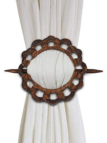 Cyber Monday deal, Natale Regali del Ringraziamento decorativi di legno cortina Tiebacks Set di 2...
