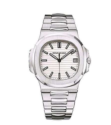 Sportlich Elegante Herren Automatik Uhr Didun Design Modell Nautiker, massives Armband, Miyota 8215 Uhrwerk, Silber/weiß