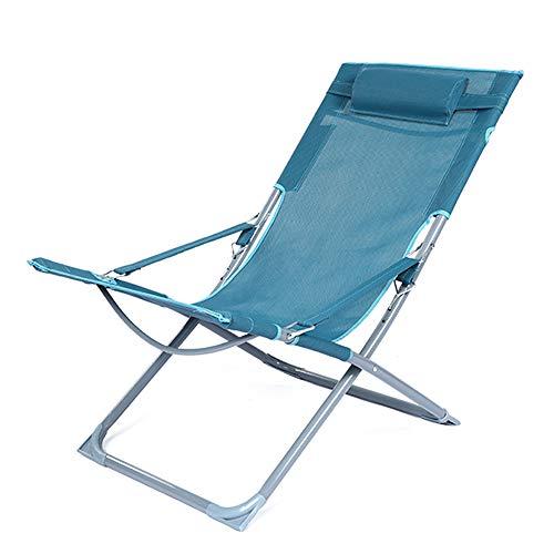HHDD Sillón de jardín, Silla reclinable ergonómica de Oficina, con reposacabezas Silla reclinable Plegable, Descanso para el Almuerzo Oficina hogar Balcón de Playa Silla de Playa