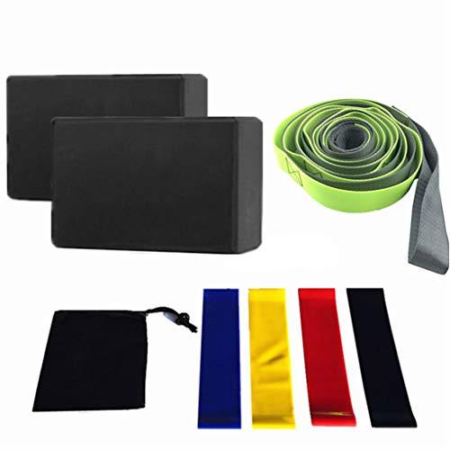 Fugift 8-teiliges Yoga-Ausrüstungs-Set mit Yoga-Blöcken, Dehnungsband, Widerstandsband, Yoga-Starter-Kit für Heimtraining Fitness