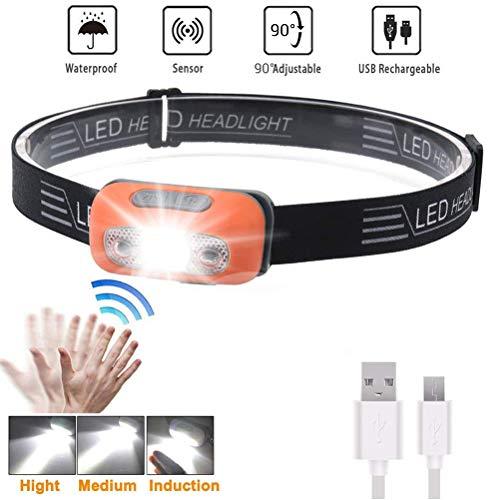 LED-Stirnlampe IPX6-Scheinwerfer Wasserdicht Superhelle 500 Lumen LED-Bewegungssensor USB Wiederaufladbarer Scheinwerfer für Camping Wandern Joggen Laufen Angeln Gehen mit Dem