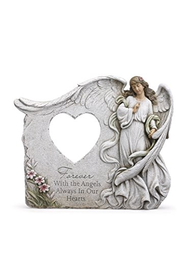 Napco Forever in Our Hearts with Angels 12 x 10 Inch Resin Stone Decorative Outdoor Garden Statue -  11979
