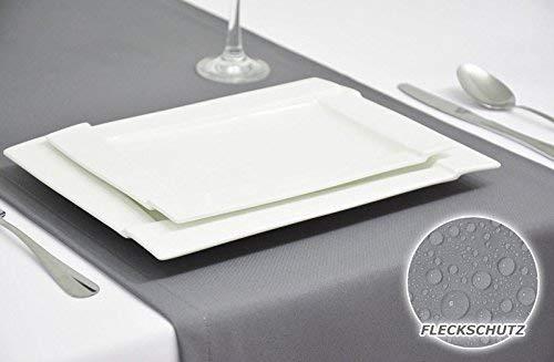 Rollmayer Edle Tischläufer Tischdecke Tischtuch Tischwäsche Pflegeleicht mit Fleckschutz (Silbergrau 031, 40x180cm)