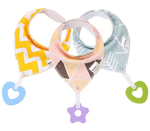 Baby Bandana Bibs with Teething Toys 3-Pack – 100% Organic Cotton | Super Absorbent Drool Bib with Teether for Boys & Girls - by Bobaly