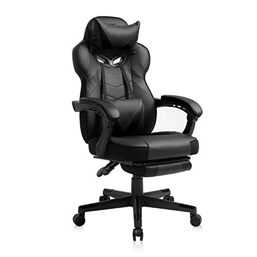 AJS Gaming Chair, Video Game Chair Ergonomic Task Racing Chair Adjustable Swivel PU Leather Office Chair, with Lumbar Support, Headrest, Padded Armrest and Retractable Footrest (Black)