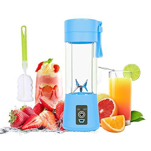 WELLIN Mini Frullatore, Personal Blender, Portable Juicer Cup Frullatore Elettrico USB Frullatore, Ricaricabile, Sei Lame in 3D Per un Superbo Mixaggio, 380mL