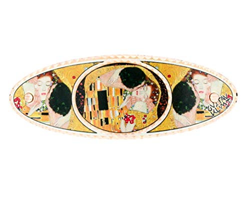 Gustav Klimt – Der Kuss Haarspangen, Kupfer, handgefertigt, französische Haarspange, ovale Haarspange, Kupfer-handgemachte Haar-Accessoires.