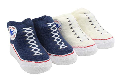 Converse Baby Bright Infant Booties (2 Pack) (BleachedAqua(LC0001-UW2)/Red, 6-12 Months)