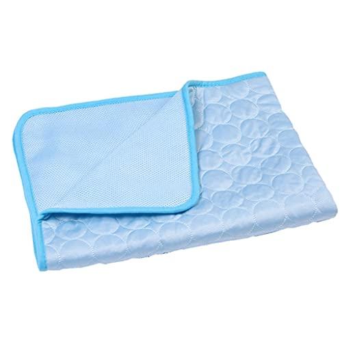 HDDFG Alfombrilla de verano para mascotas para camas de perro, alfombrilla de hielo azul para mascotas, de seda fría y fría, a prueba de humedad, colchón para cachorros (color azul, tamaño: XL)