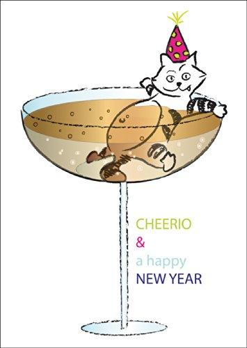 Grappige Silvester felicitatiekaart, wenskaart voor het nieuwe jaar met in champagne badende kat: CHEERIO & a happy NEW YEAR • Kerstwenskaarten incl. enveloppen voor oudejaarsavond voor familie