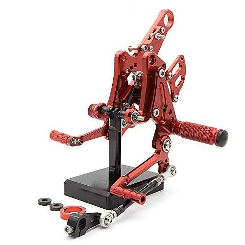 FXCNC Racing Billet Motorcycle Rearset Foot Pegs Rear Set Footrests Fully Adjustable Foot Boards Fit For Ducati Diavel 2011-2015,Carbon 2011-2016,AMG 2011-2012 Red