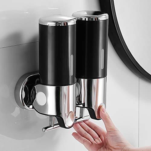 Dispensador de Jabón Acero Inoxidable Montado en la Pared de 500 ML x 2, Dispensador de Jabón de Manos de Dos Cabezas para Cocina/ Baño/Hotel (Negro)
