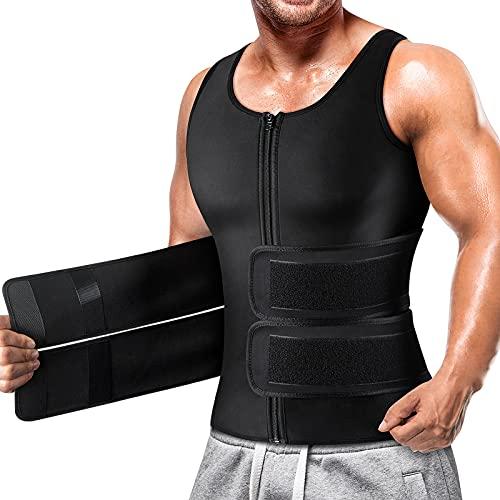 Cimkiz Sauna Vest for Mens Waist Trainer Zipper Neoprene Sauna Suit Tank Top(Black with Belt,Medium)