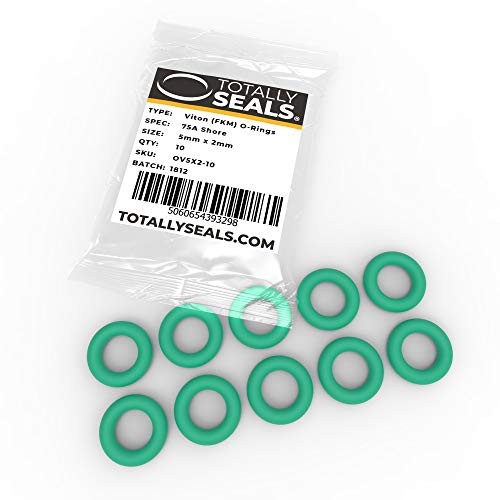 5mm x 2mm (9mm OD) Green Viton (FKM) Rubber Metric O-Rings - 75A Shore Hardness - Pack of 10