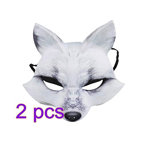 AMOSFUN Halloween Fox Halbmaske Cosplay Tier Gesichtsmaske Realistische Eva Party Maske für Halloween Cosplay Kostümzubehör (Weiß) 2 STK