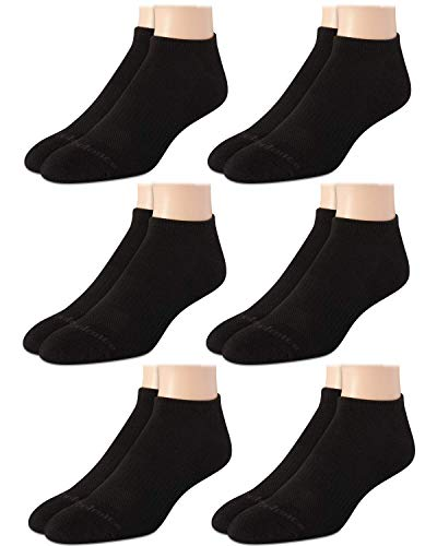 New Balance Men's Athletic Cushioned Low Cut Socks (6 Pack), Solid Black, Size Shoe Size: 6-12.5
