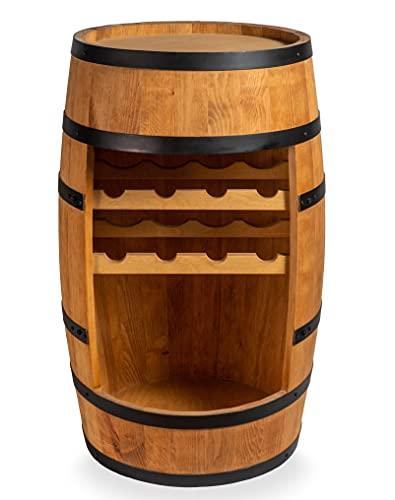 Weinfass Stehtisch - Mini Bar Regal mit Wine Bottle Holder - Alkohol Shrank - Flaschenregal Holz Regale - Holzfass Deko Hausbar Theke - Fassmöbel - 8X Flashenhalter - Fassbar Minibar 80cm (Eiche)