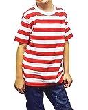 Islander Fashions Kids Hombre de Manga Corta, Rayas Rojas y Blancas, Camisa, Libro, d�a de la Semana, Traje, Camiseta, Camiseta para ni�os, 2-3 a�os