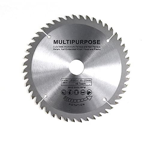 1pc Diámetro 160 165 185mm TCT Hoja de sierra circular para madera de plástico acrílico hoja de sierra de carpintería 24T 48 60t 80t de disco de corte-160x20x48t multi