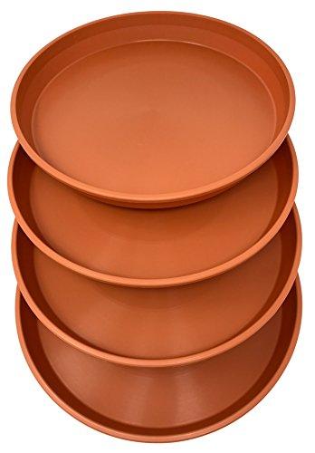 Matri Round Plastic Plant Saucer 9quot Set of 4 Units Terracotta Color