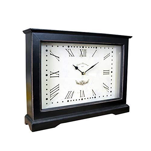 DRULINE Tischuhr Kaminuhr Uhr Standuhr XXL mit Römischen Ziffern aus Holz im Shabby Chic Stil Used Look| 1702 | 33282 |L x B x H 40 x 8 x 30 cm | Schwarz