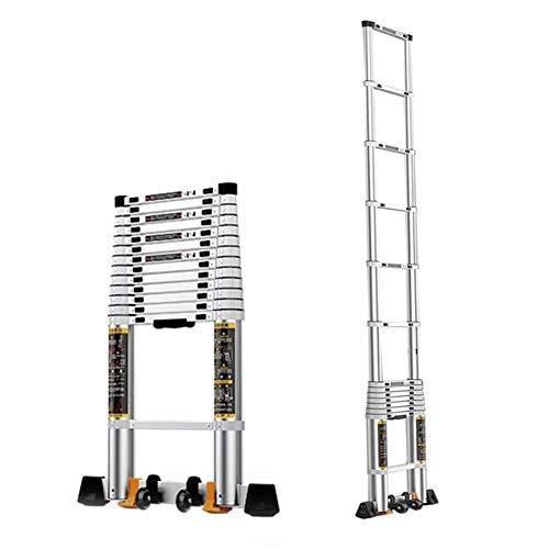 ZHPBHD Extensión telescópica Escalera con Antideslizante Barra de Soporte, La Escalera Extensible de usos múltiples de Aluminio Plegable for Loft Cubierta al Aire Libre Oficina de la Casa