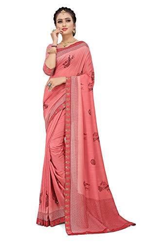 Gaurangi Creation Women's Plain Weave Art Silk Saree With Unstitched Blouse Piece (UT-A_Pink)