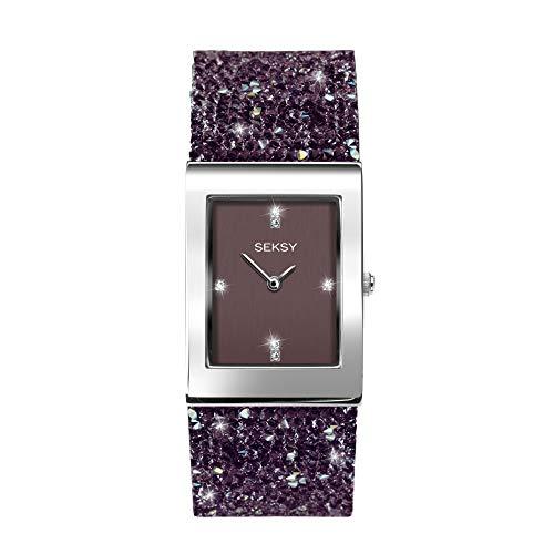 Sekonda Seksy Rocks Damen-Armbanduhr Analog Leder Violett 2857