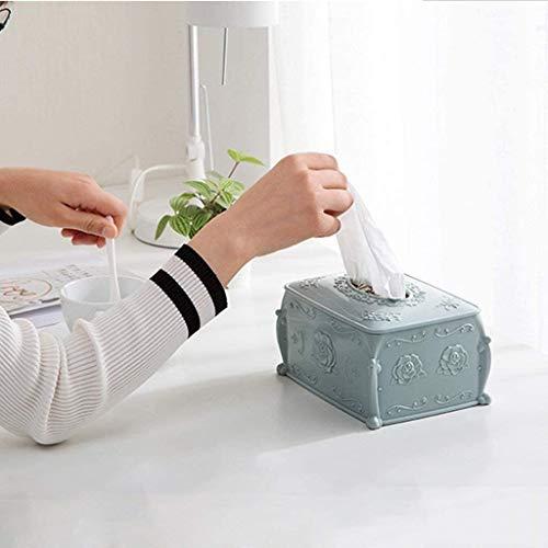 KMILE Caja de Tejido de plástico, Bandeja de Mesa de café en casa, Sala de Estar Creativa Caja de Almacenamiento de servilletas Papel higiénico Contenedores de Almacenamiento (Color : Blue)