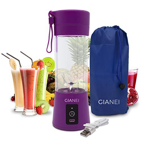 Gianei Batidora portatil recargable USB - Mini batidora multifuncional, licuadora para zumos y batidos, licuadora para verduras y frutas con estuche de transporte. 380ml, 6 hojas de acero inoxidable