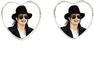 Michael Jackson with Infamous Black Hat Heart Earrings.Lightweight Glass Cabochon Covers Image.Perfect for a MJ Fan